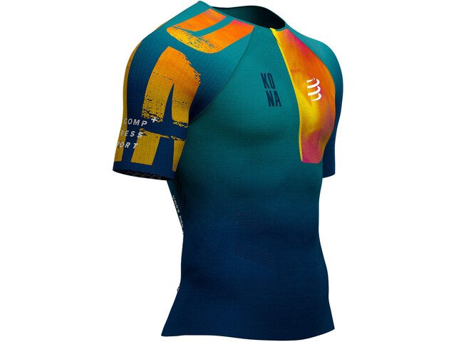 Compressport Triathlon Postural Aero Kona 2019 Maillot manches courtes zippé Homme, blue